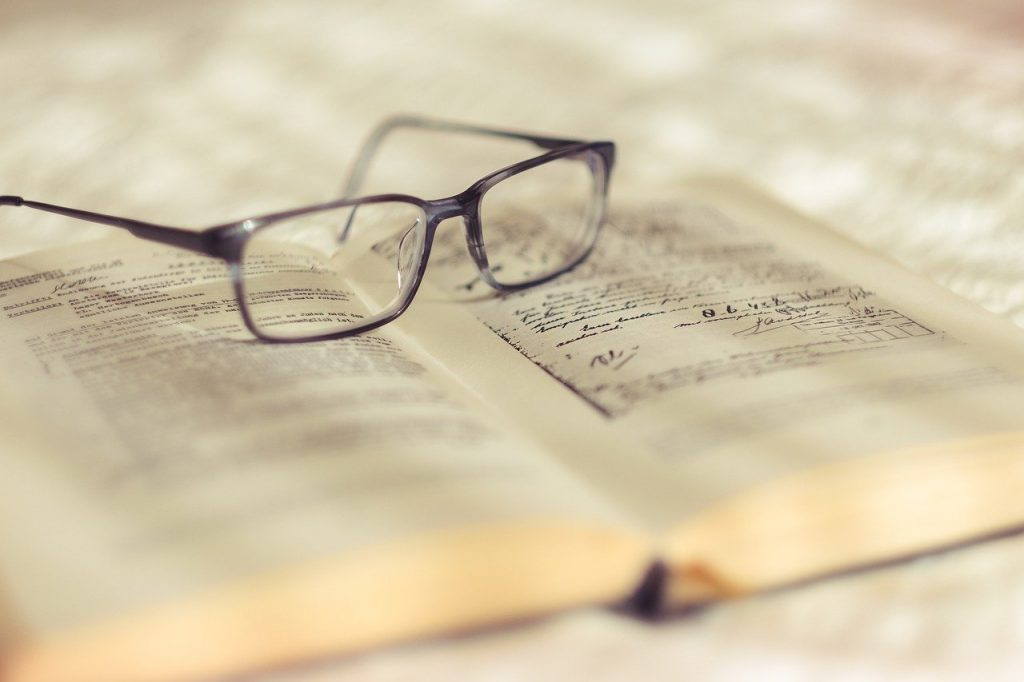 reading, glasses, book